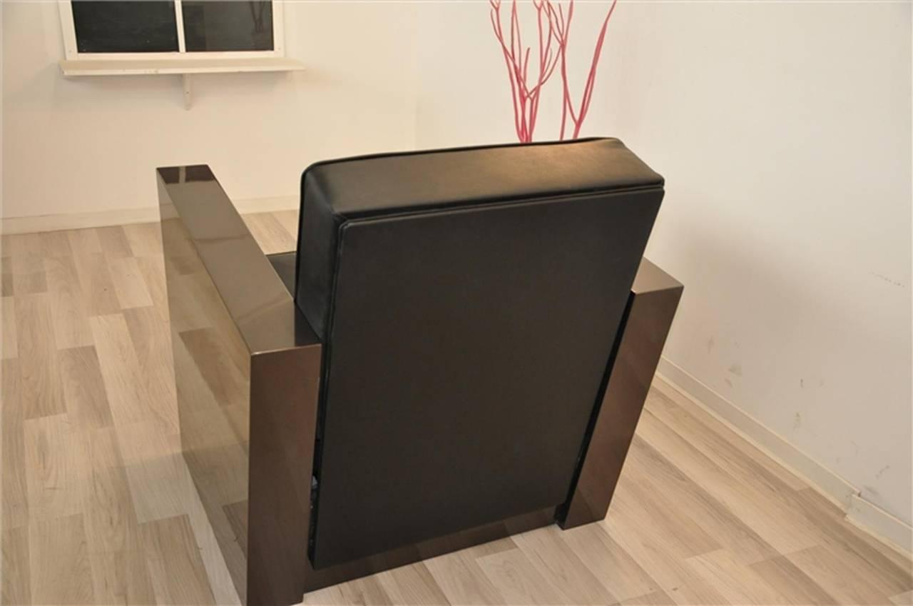 Art Deco Stil Sessel in dunklem Silber 9