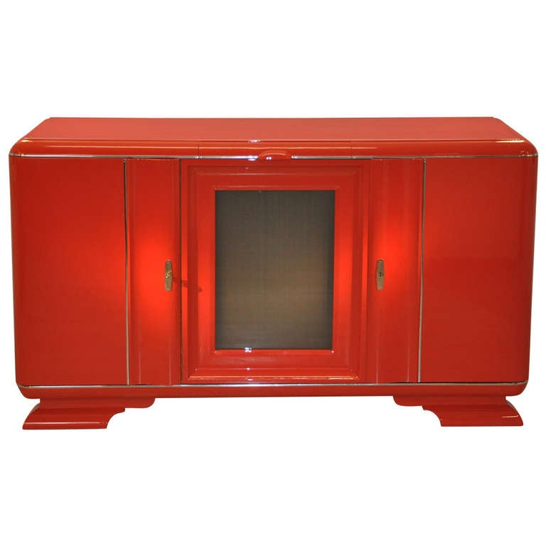 Unique Art Deco Sideboard In Fire Red 19th Century At 1stdibs