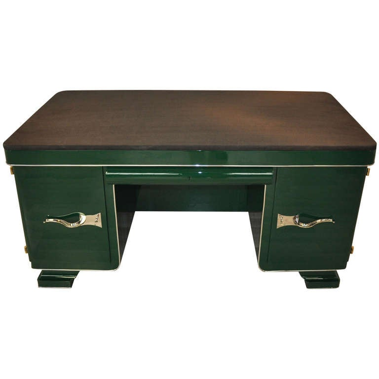 Green Art Deco Desk with Leather Top