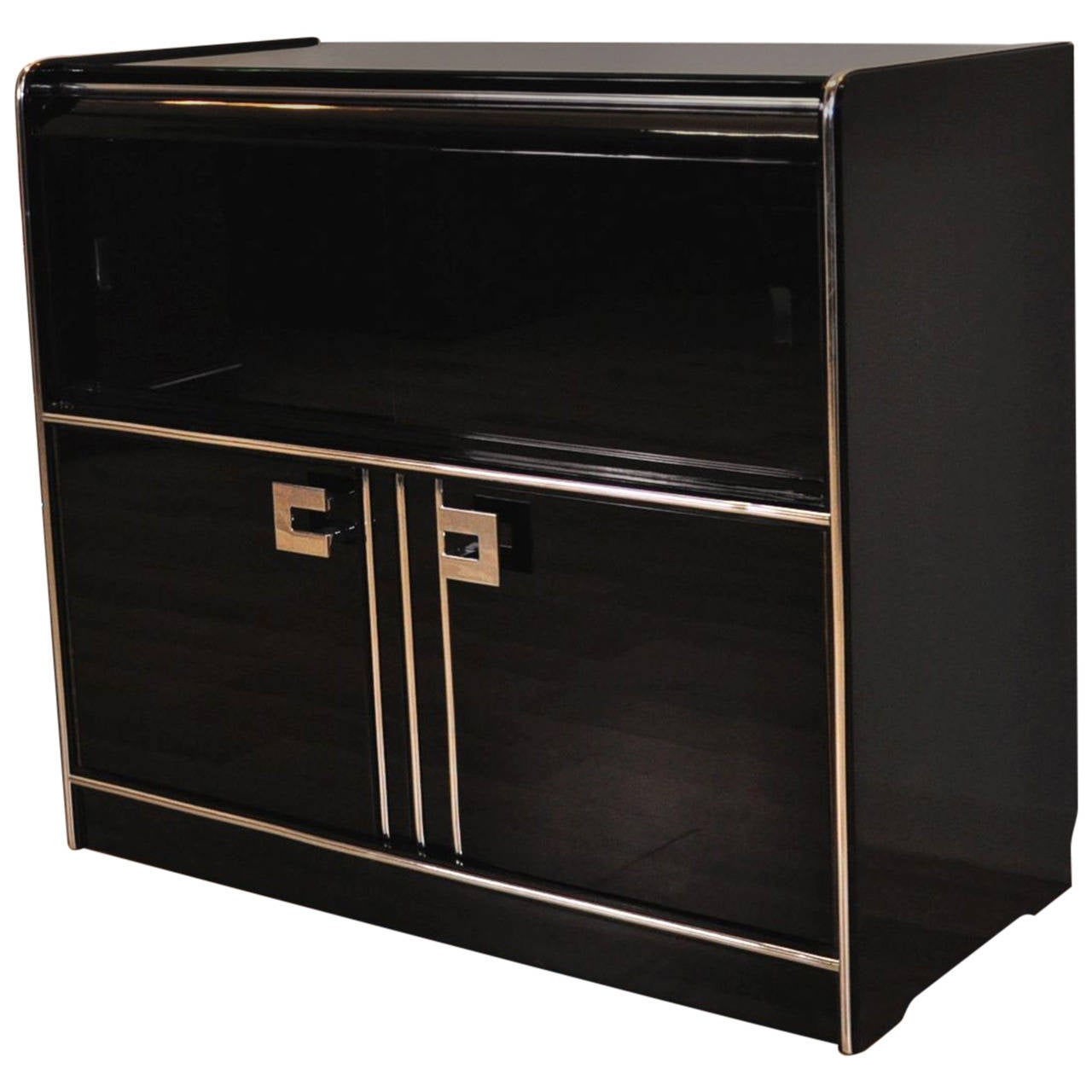 Small art deco sideboard with sliding glass doors at 1stdibs for Sliding glass doors germany