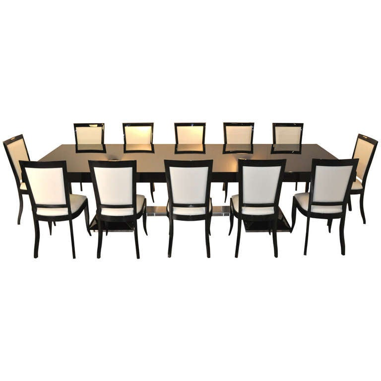 unique large art deco dining table with 12 matching chairs