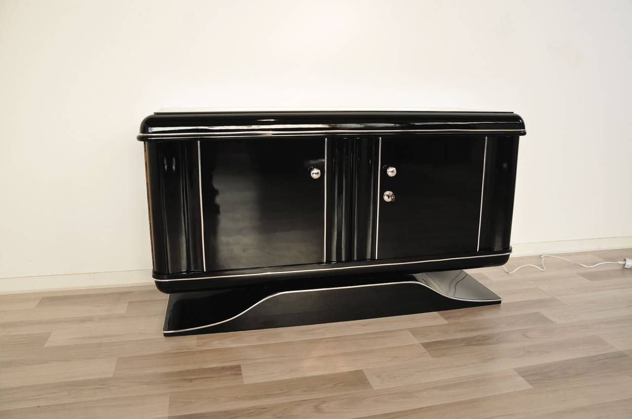 black art deco commode with illumination at 1stdibs. Black Bedroom Furniture Sets. Home Design Ideas