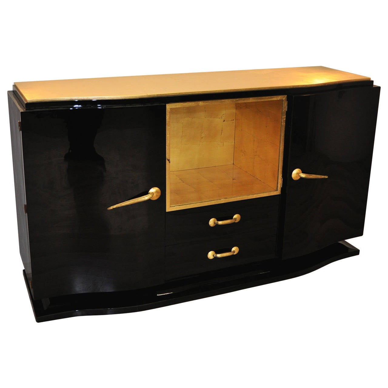 Black and gold art deco sideboard for sale at 1stdibs for Sideboard gold