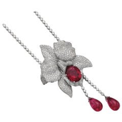 "Cartier ""Bahamas"" Diamond Rubellite Necklace Brooch Collection"