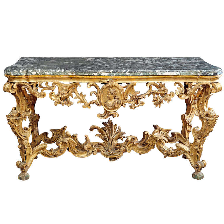 An Italian Gilt Wood Console Table, Tuscan, Second Quarter Of 18th Century  For