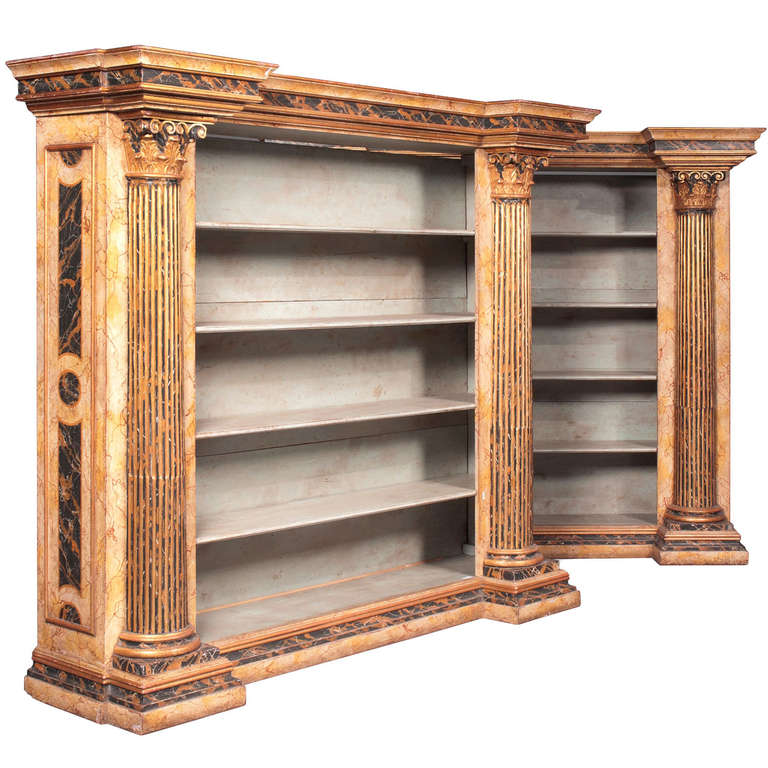 Large Wooden Bookcases ~ Pair of large neoclassical style gilt wood and painted