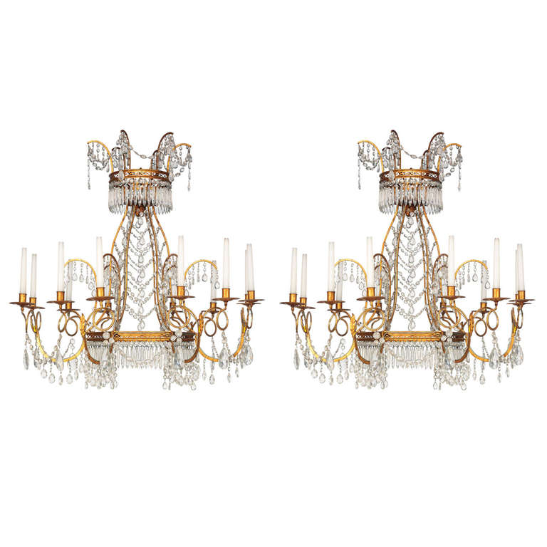 Pair of Neoclassical Ormolu and Cut-Glass Chandeliers, Early 20th Century