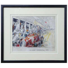 "Vintage 1930's Race Car Illustration ""Tazio Nuvolari"" Nurburgring"