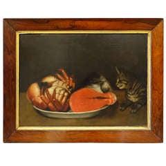 Folk Art Painting of Cat Eyeing Dinner