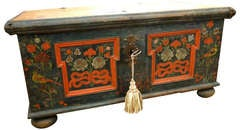 Blue Green and Red Paint Decorated Bavarian Trunk