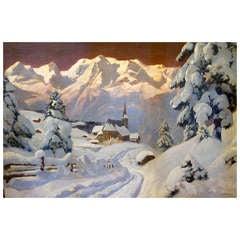 """""""Alpen Village at Dusk"""" by Alois Arnegger"""