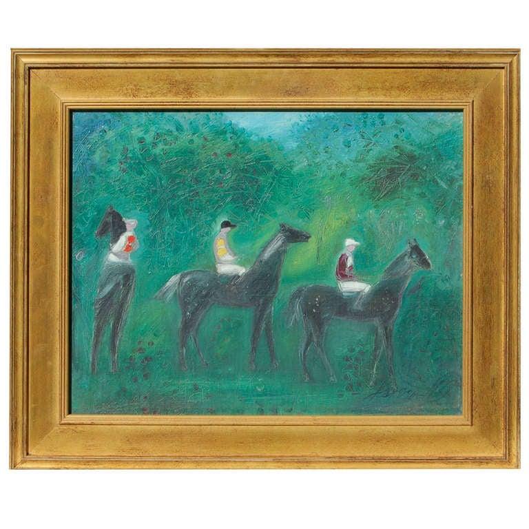 """""""Le Depart"""" by Jan Van Wel Equestrian Painting 1"""