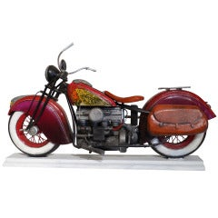 """Indian Motorcycle"" Wood Sculpture by Paul Jacobsen"
