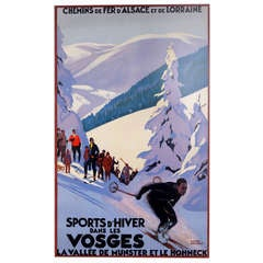 """Vintage French Ski Poster"" by Roger Broders"