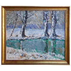 """""""Winter on the River"""" by Paulémile Pissarro"""