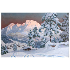 """Tyrolean Sunset"" Painting by Austrian Artist Alois Arnegger"