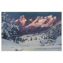 """Setting Sun Over the Tyrol"" Painting by Alois Arnegger"