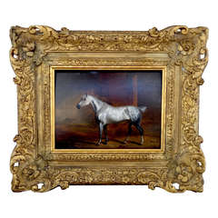 """""""White Horse in Stable"""" by John Frederick Herring Sr."""