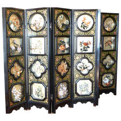 Exquisite Chinese Colored Jade Carved Flowers and Gilded Screen
