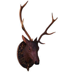 Paper Mache Deer Head with Real Antlers and Wood Carved Plaque