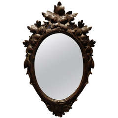 Black Forest Carved Oval Mirror