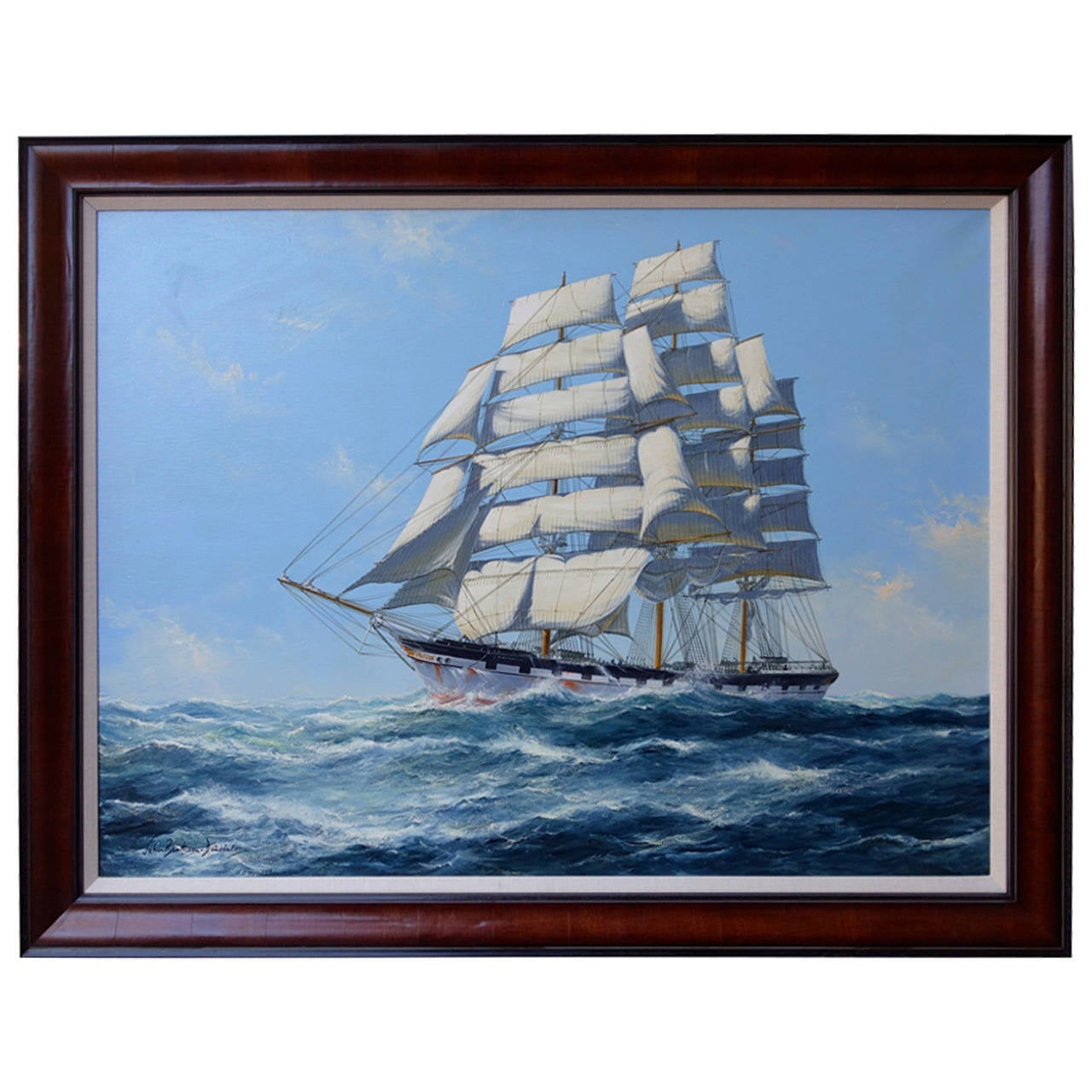 """""""Clipper Ship Under Full Sail"""" Painting by John Bentham-Dinsdale"""