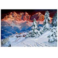 """""""Alpen Glow in Tyrol"""" Painting by Alois Arnegger"""