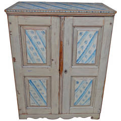 Exceptional Small Proportion Early Swedish Sponge Painted Cabinet