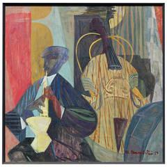 """The Solo"" 1950s Jazz Scene Painting by Morton Dimondstein"