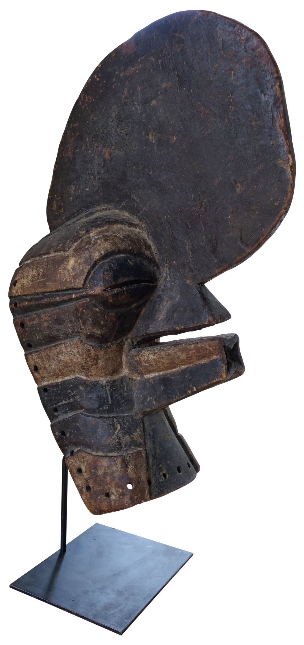 Folk Art Stylish African Mask on Museum Stand Mount For Sale