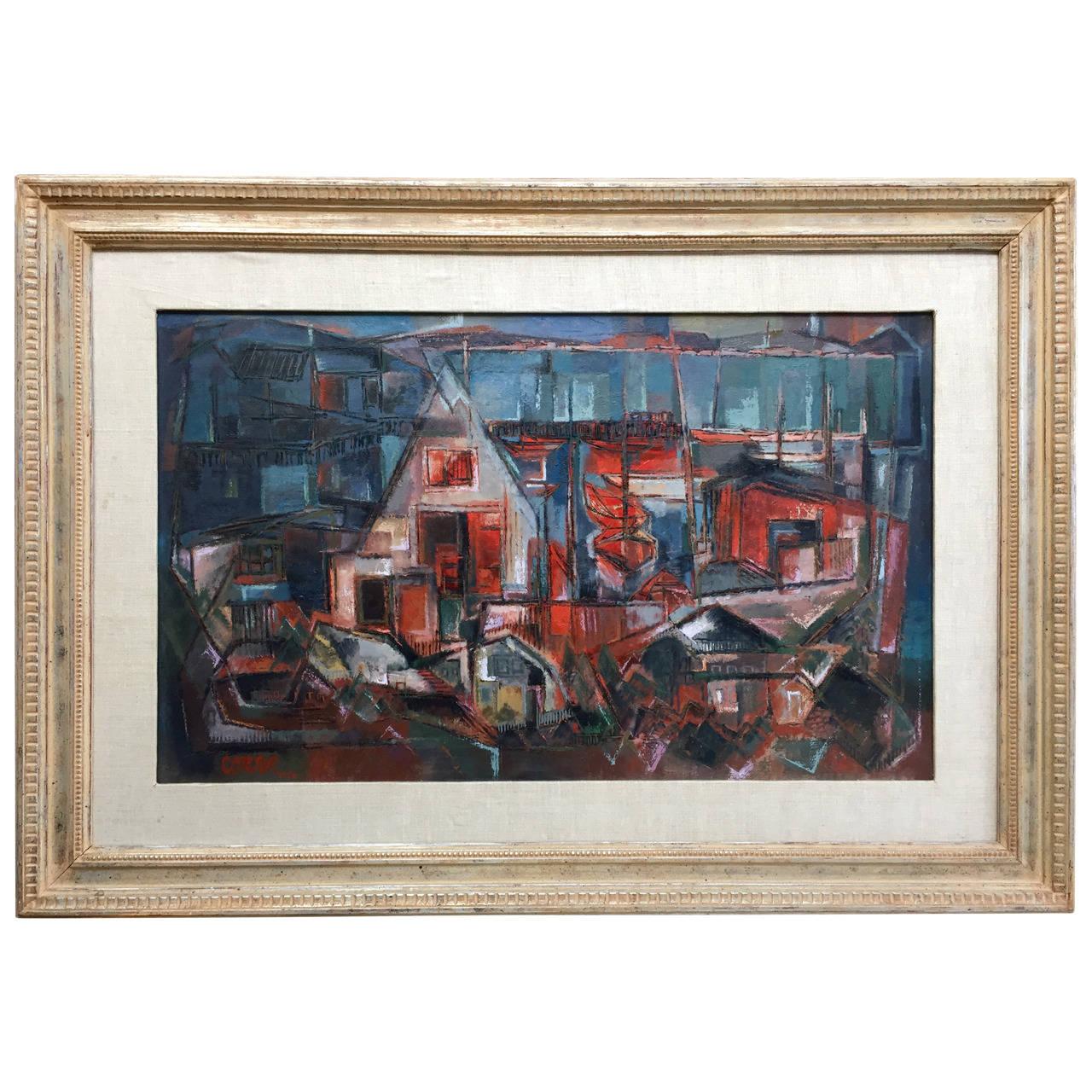 """""""Modernist Port Scene"""" Painting by San Francisco Artist Jon Cornin"""