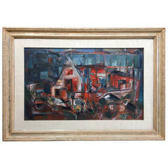"""Modernist Port Scene"" Painting by San Francisco Artist Jon Cornin"