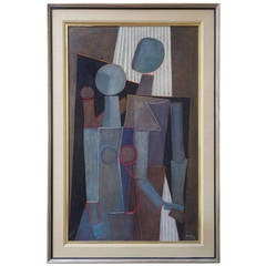 Great Mid-Century Cubist Figurative Painting by Fritz Janschka