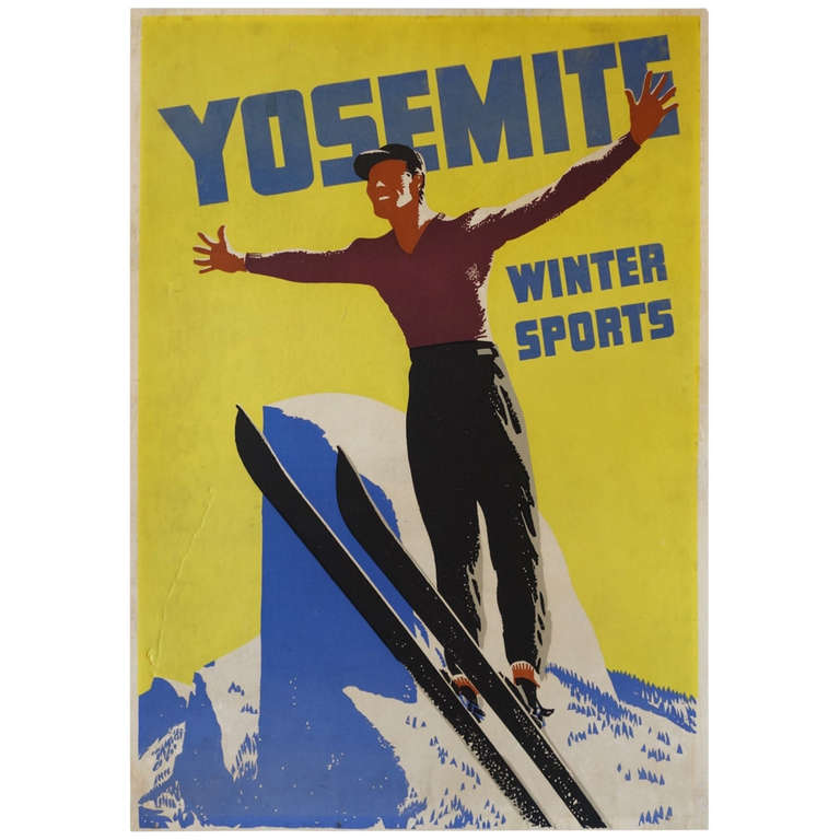 Yosemite Poster Winter Vintage