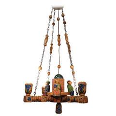 Bavarian Wood Folk Art Chandelier