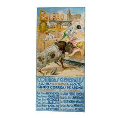 Very Rare monumental Bilbao Spain Bull Fighting Poster c. 1942