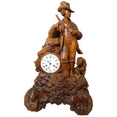 Monumental Black Forest Carved Swiss Clock Hunter with Dog
