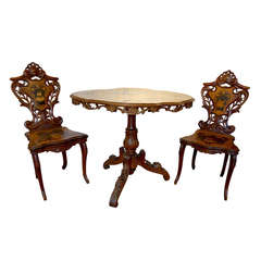 19th Century Swiss Black Forest Table and Chair Set
