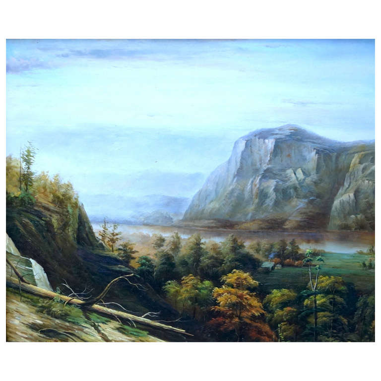 19th Century Hudson River Valley Landscape Painting For