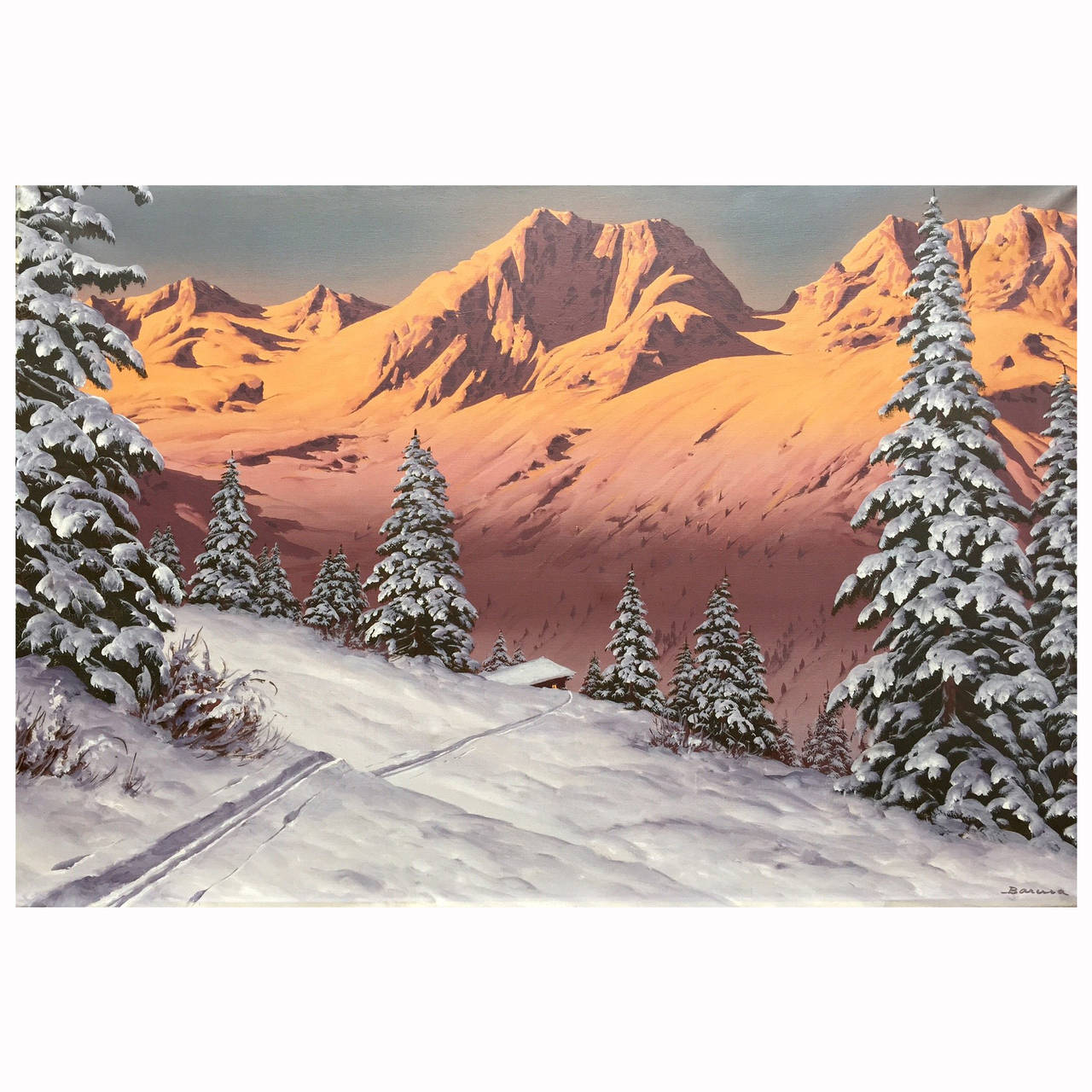 """""""Tyrol Sunset"""" Painting by Austrian Artist Hans Barma For Sale"""
