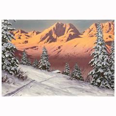 """Tyrol Sunset"" Painting by Austrian Artist Hans Barma"