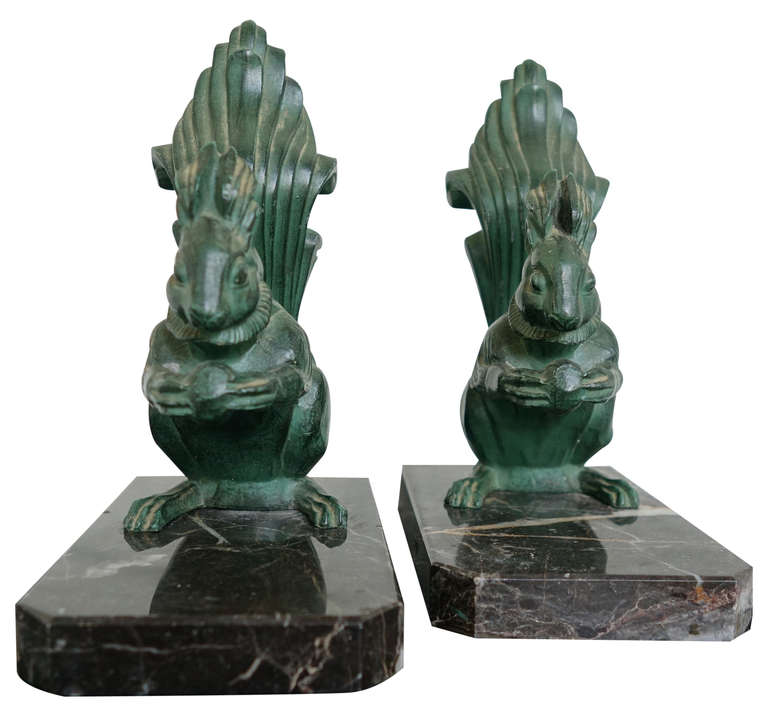 Great pair of Art Deco squirrel bookends, French, 1930s. Very stylized.