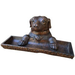 Well Carved Black Forest Dog Inkwell, circa 1900