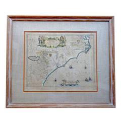 Rare 17th Century American Map of Virginia and Florida by Jan Janssonius