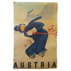 Vintage Austrian Ski Poster on Linen