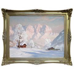 """""""Tyrol Landscape"""" by Erwin Kettemann Romantic Alpen Glow Painting"""