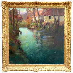 """Normandie Riverscape"" Painting by George Ames Aldrich"