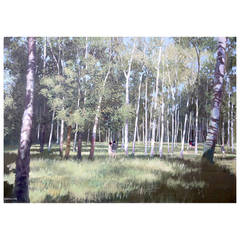 """Among the Birch Trees"" Painting by Henry Robertson Craig"