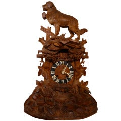 Rare Carved 19th Century Black Forest Dog Clock