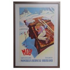 """M.O.B"" Vintage Ski Poster by Martin Peikert"